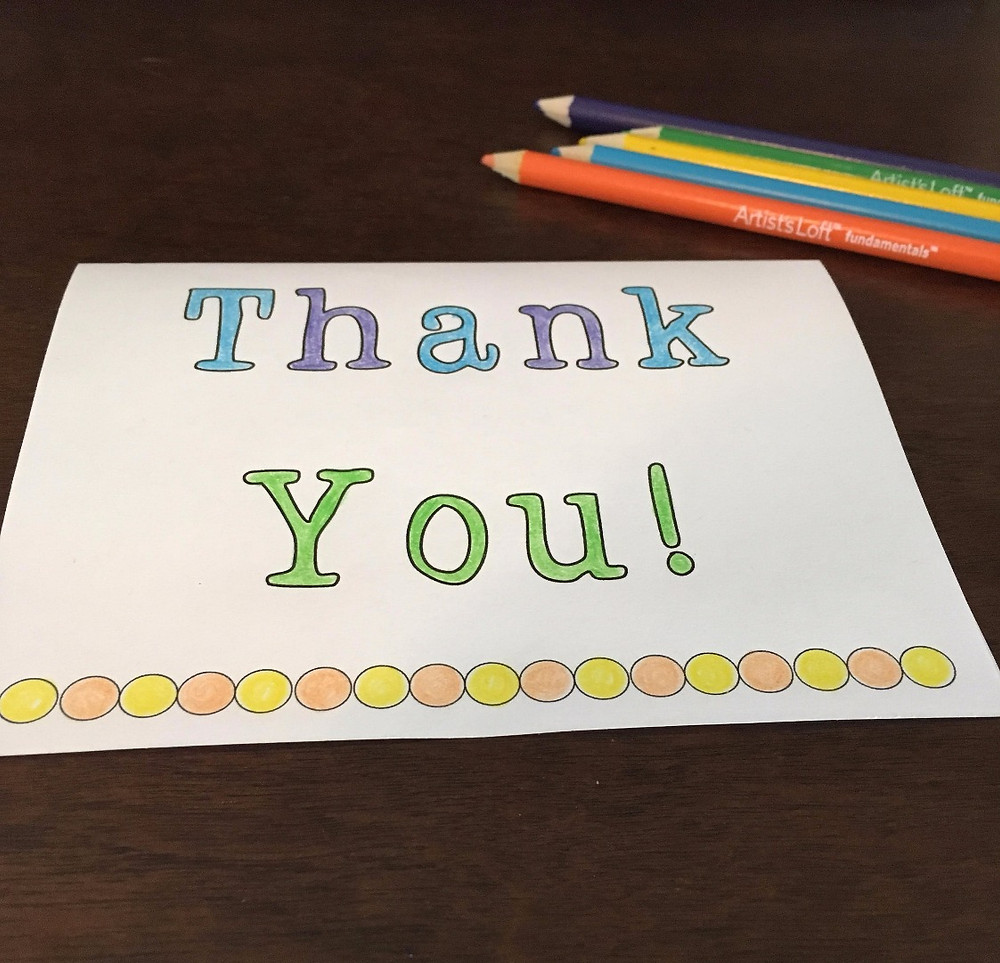 Printable thank you note coloring page