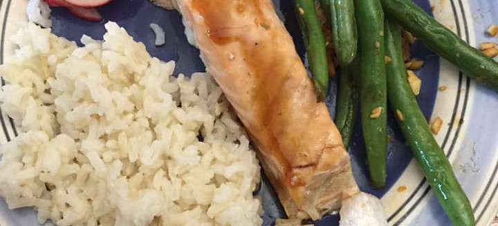 Salmon, Rice, Veggies