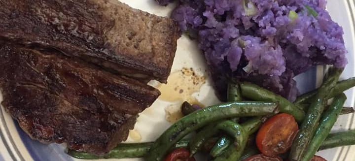 Sirloin steak and Purple Potatoes