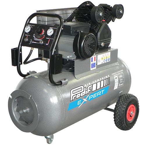 Compresseur mobile 100 litres 230 V mono 9 bars 3 CV air restitué 270 L/min
