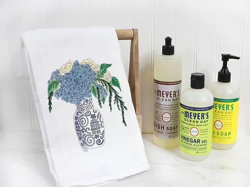 Blue ginger jar, floral tea towel