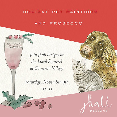 Holiday Pet Paintings and Prosecco