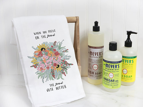Good gets better, floral tea towel