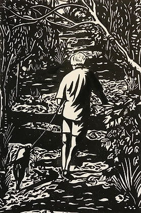 Morning walk linocut