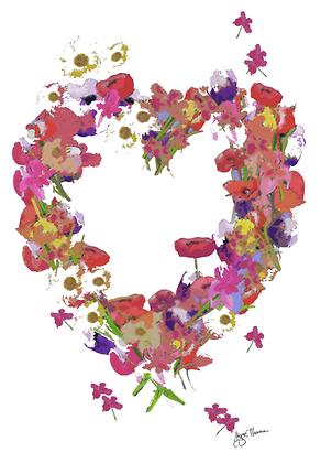 A3 Wildflower heart Digital print