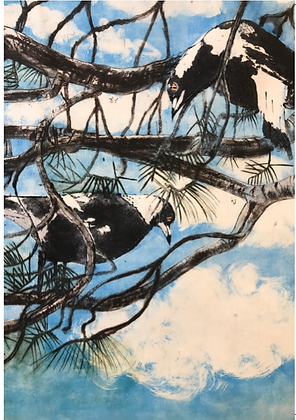 #70 Magpies on high greeting card