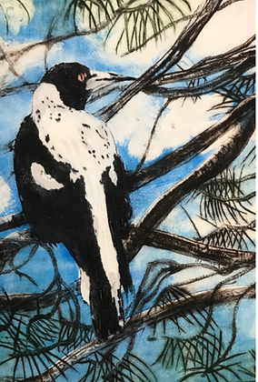 #71 One magpie greeting card