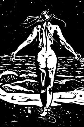 #39a Night swim greeting card