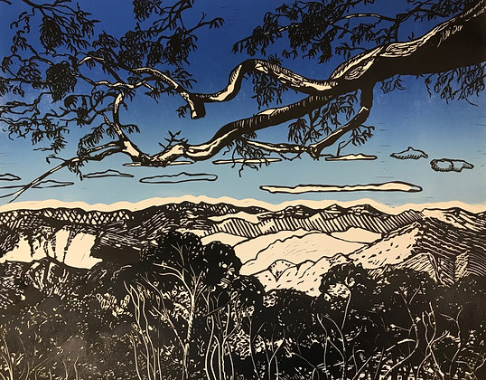 Point Lookout, Waterfall Way 1st state linocut