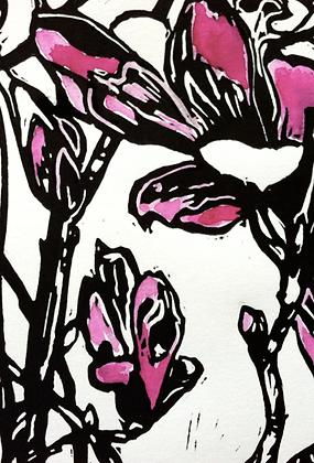#3 Armidale Magnolia linocut greeting card