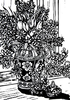#12 Chinese vase linocut greeting card