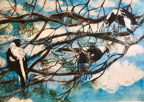 Rhonda's tree (three magpies) A3 digital print