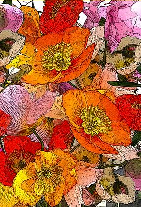 #83 Poppies & peonies greeting card