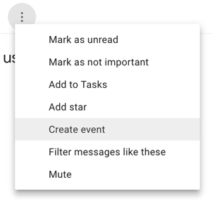Create an event from an email