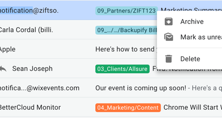 How to right click to delete or archive an email in Gmail