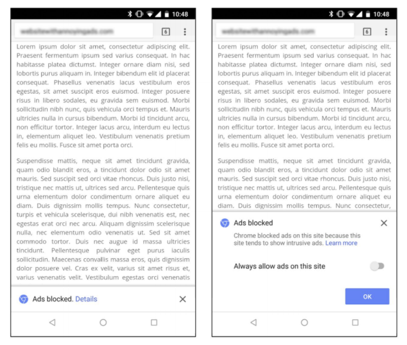 Chrome Mobile Ad Blocking