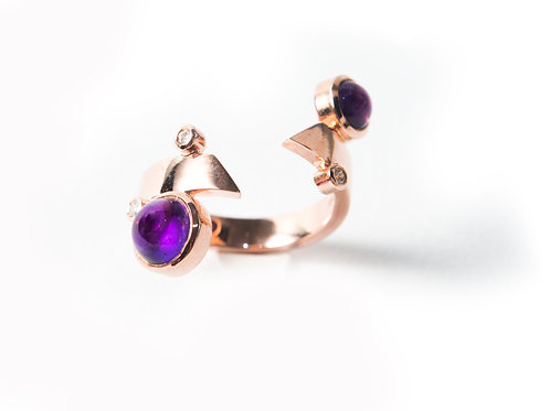 Marco Ring in rose gold with Amethysts