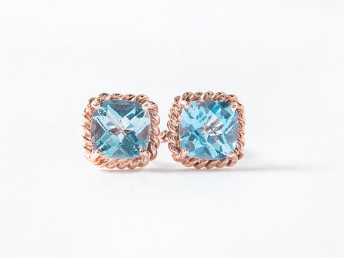 Blue Topaz Liana Double Ring in 18k rose gold