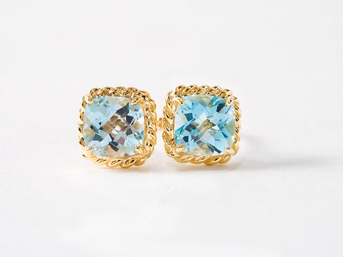 Blue Topaz Liana Double Ring in 18k yellow gold