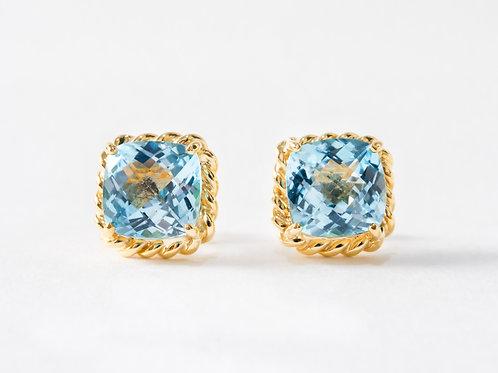 Blue Topaz Liana Earrings in 18k yellow gold