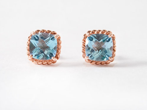 Blue Topaz Liana Earrings in 18k rose gold