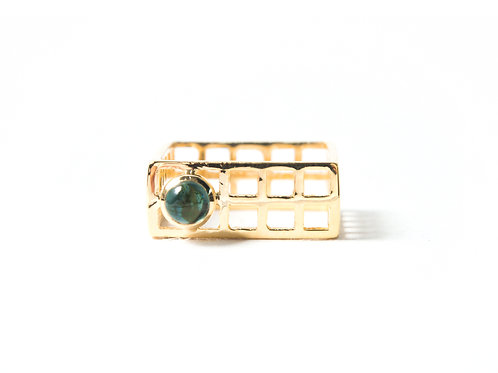 Mini Nido Ring in yellow gold with tourmaline