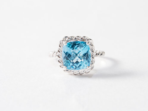 Blue Topaz Liana Ring in 18k white gold