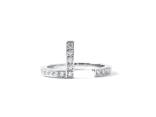 Puzzle L Ring in 18k white gold