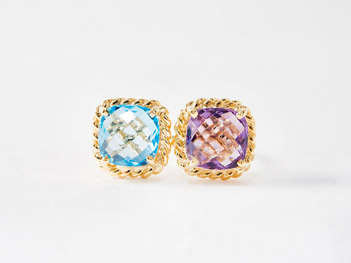 Amethyst and Blue Topaz Liana Double Ring in 18k yellow gold