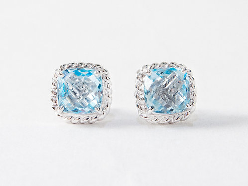 Blue Topaz Liana Earrings in 18k white gold