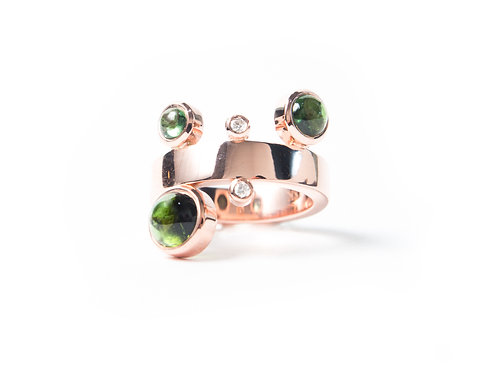 Rocco Ring in rose gold with Tourmalines