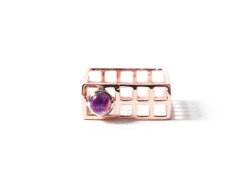 Mini Nido Ring in rose gold with Amethyst