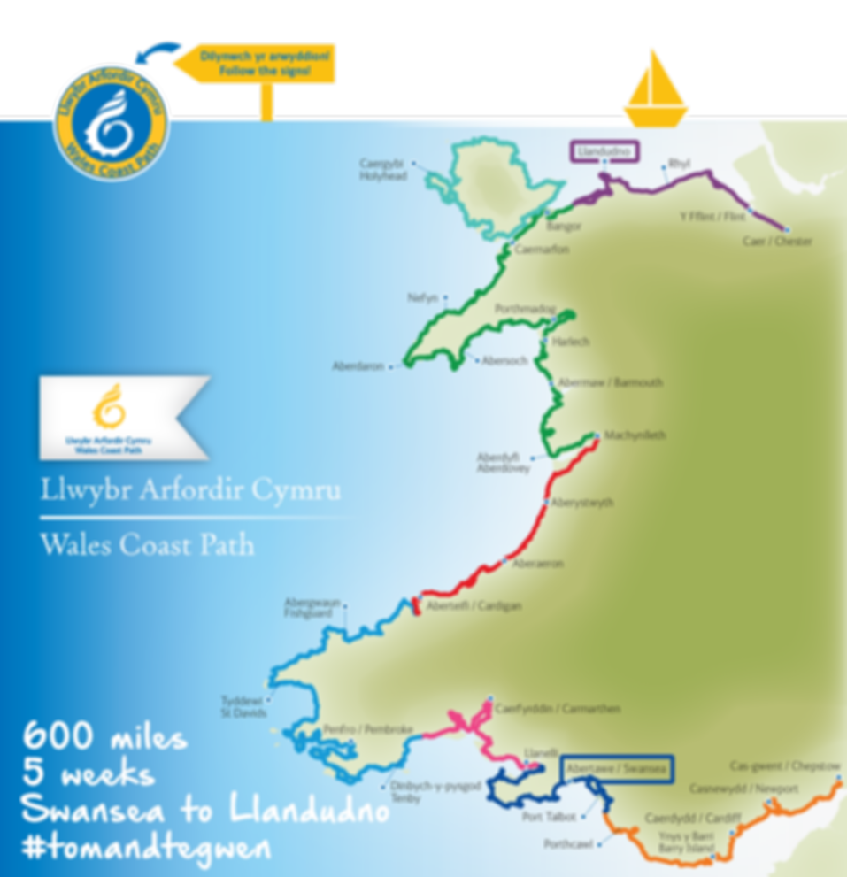 Map of Wales Coast Path that Tom and Tegwen are walking