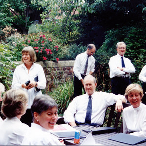 Relaxing at the Bristol Cathedral residency, 1995