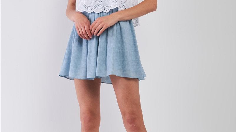 White & Dusty Blue Sleeveless Dress