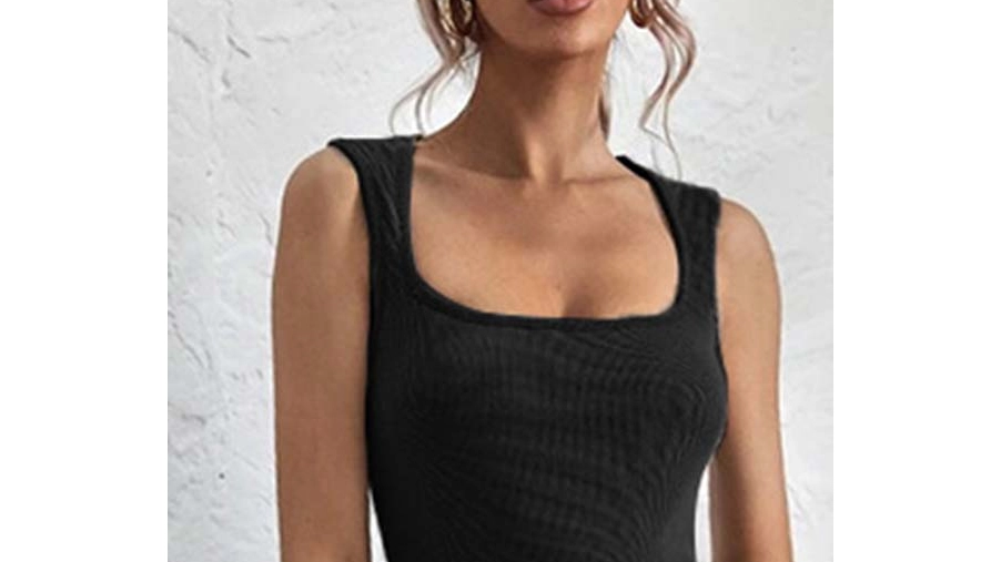 Squared Neckline Knitted Tank Top