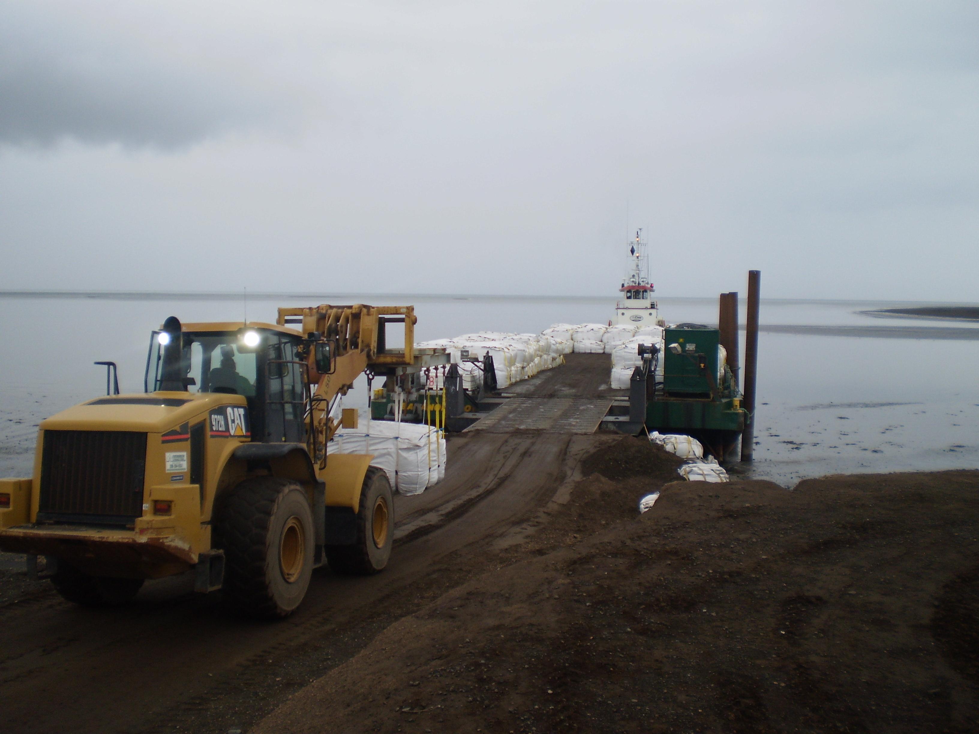Loading Barge on Shore