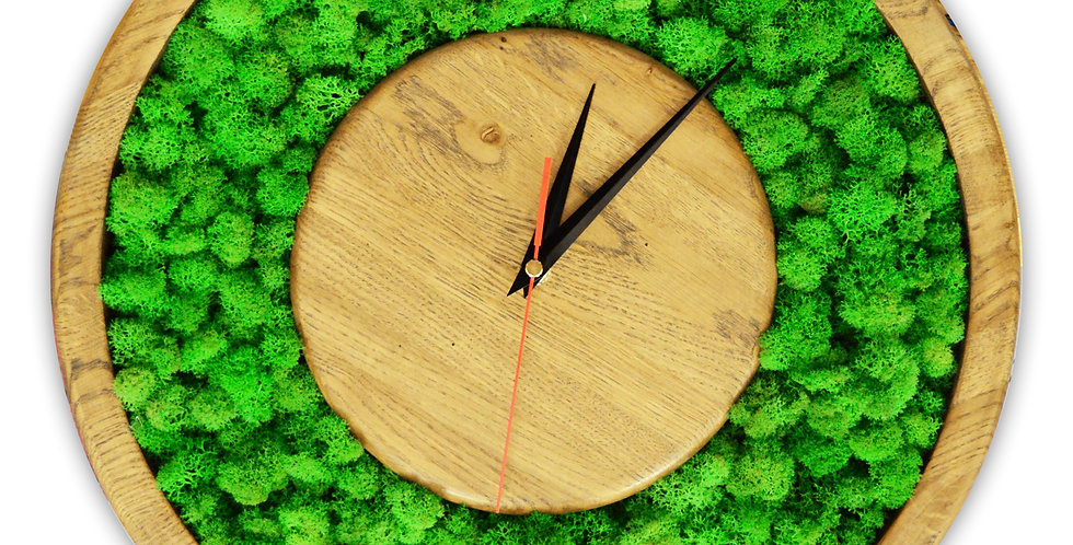 Часы в корпусе из дуба с мхом ягелем.