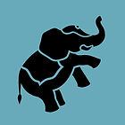 blue elephant logo blue background silho