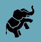 blue elephant logo blue background silho