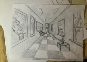 One point perspective architecture.