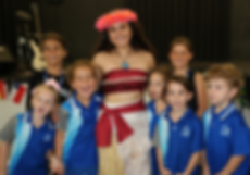 Moana with a group of School Kids