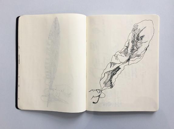 Observational Sketchbook Drawing of a Leaf by Jo Blaker