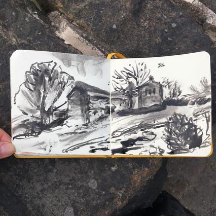 Ink Sketchbook Drawing of derelict farm by Jo Blaker