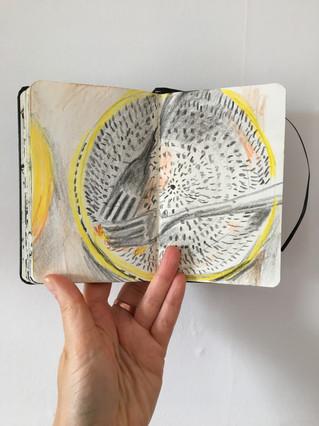 Sketchbook Drawing of empty bowl by Jo Blaker