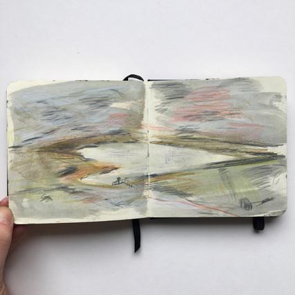 Watercolour Sketchbook Drawing of moorland reservoir by Jo Blaker