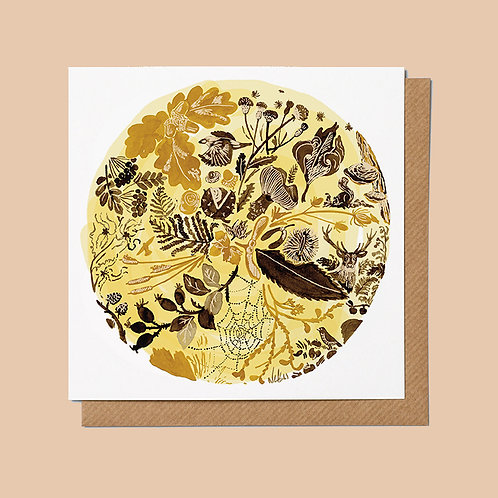 Golden autumn themed nature illustration greetings card
