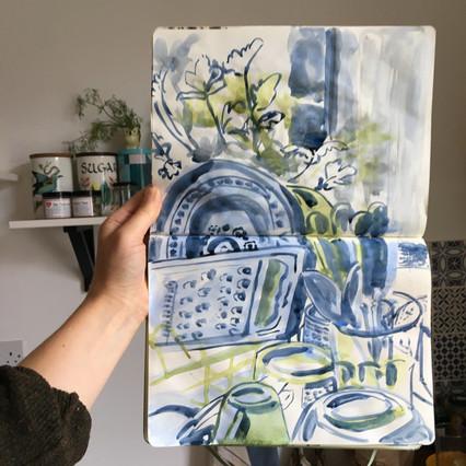 Watercolour Sketchbook Drawing of kitchen scene by Jo Blaker