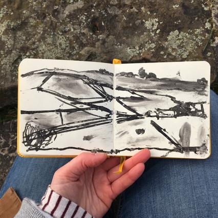 Ink Sketchbook Drawing of field walls by Jo Blaker