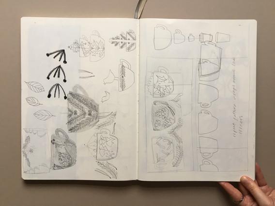 Window Illustration Development Sketchbook pages by Jo Blaker